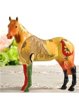 Colorful Ceramic Elephant Pattern Horse Painted Pottery