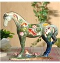 Decorative Green Fishes Pattern Horse Painted Pottery