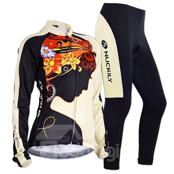 Female Quick-Dry Sexy Women with Colorful Flowers Breathable Long Sleeve Cycling Suit