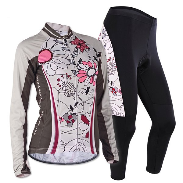 Female Flowers Long Sleeve Bike Jersey with Full Zipper Breathable Cycling Suit