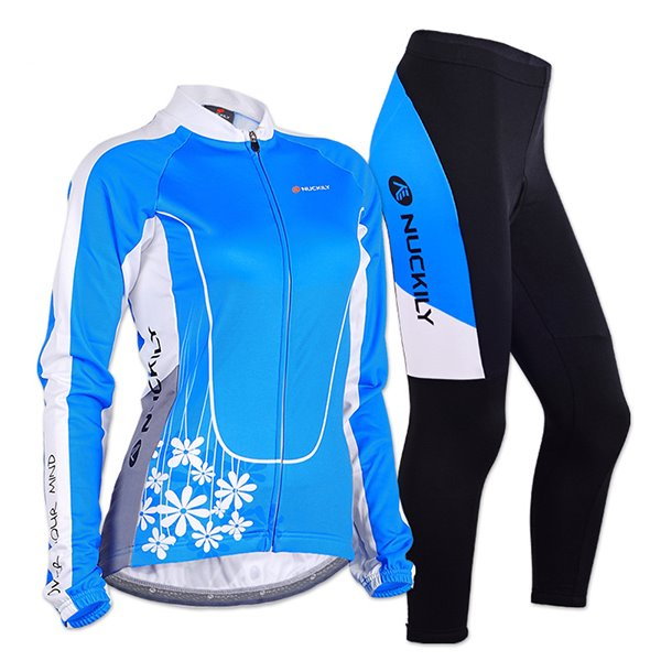 Female Daisy Breathable Long Sleeve Bike Jersey with Full Zipper Sponged Cycling Suit