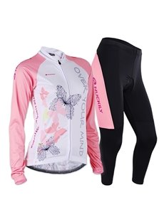 Female Pink Butterfly Long Sleeve Breathable Bike Jersey with Full Zipper Cycling Suit