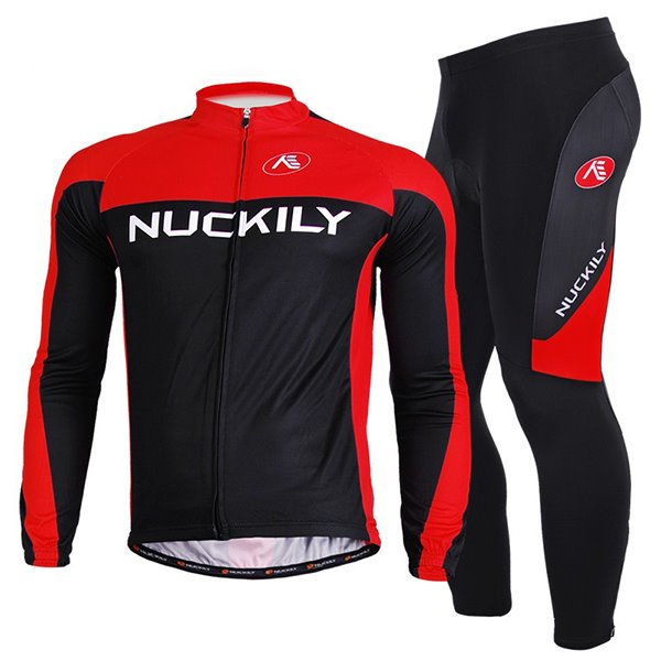 Male Black Long Sleeve Full Zipper Bike Jersey Quick-Dry Sponged Cycling Suit