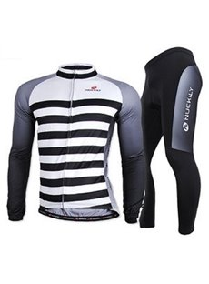 Male Strip Breathable Long Sleeve Jersey with Full Zipper Quick-Dry Cycling Suit