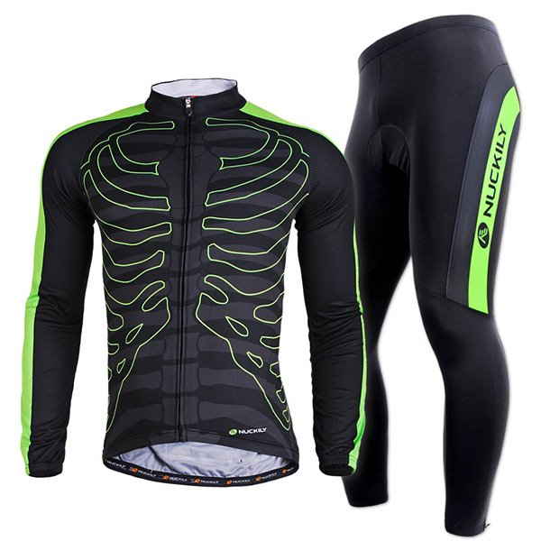 Male Black Bone Pattern Long Sleeve Breathable Bike Jersey Quick-Dry Sponged Cycling Suit