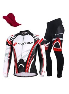 Male Long Sleeve Full Zipper Bike Jersey Sponged Bicycle Pants Quick-Dry Cycling Suit