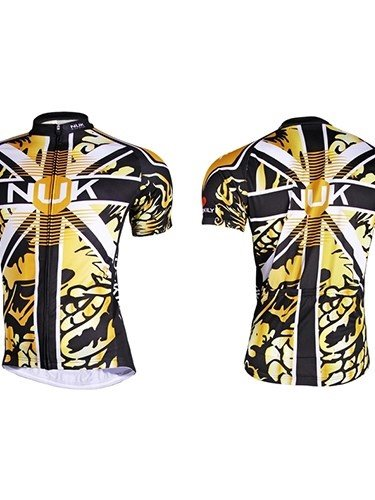 Male Yellow Dragon Pattern Breathable Bike Cloth with Full Zipper Quick-Dry Cycling Jersey