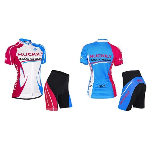 Female Streamline Breathable Bike Jersey with Full Zipper Sponged Shorts Quick-Dry Cycling Suit