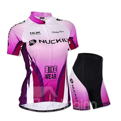 Female Purple Bike Breathable Jersey with Full Zipper Quick-Dry Sponged Cycling Suit
