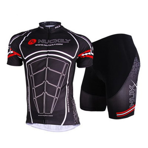 Male Black Muscle Pattern Breathable Bike Jersey Quick-Dry Bicycle Sponged Shorts Cycling Suit