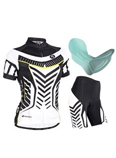 Female Breathable Short Sleeve Jersey with Full Zipper Sponged Quick-Dry Cycling Suit