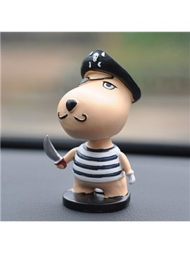 Cute Cartoon Puppy Dressed As A Robber Creative Car Decor