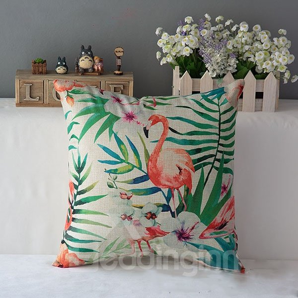 Marvelous Flamingo and Phalaenopsis Print Throw Pillow