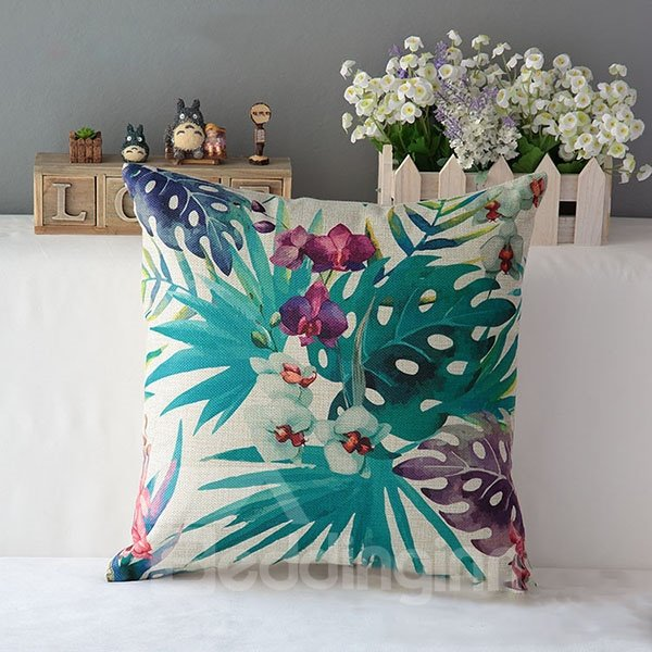 Beautiful Phalaenopsis and Leaves Print Throw Pillow