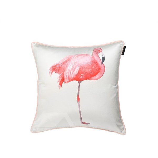 Splendid Pink Flamingo Print Decorative Throw Pillow Case