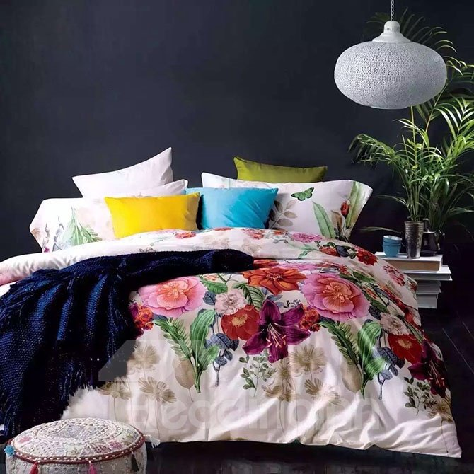 Bright Colorful Tropical Flower Print 4-Piece Cotton Bedding Sets