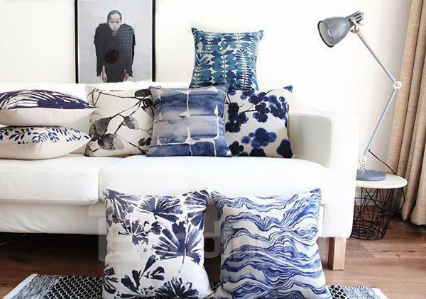 Pastoral Style Indigo Leaves Decorative Throw Pillow