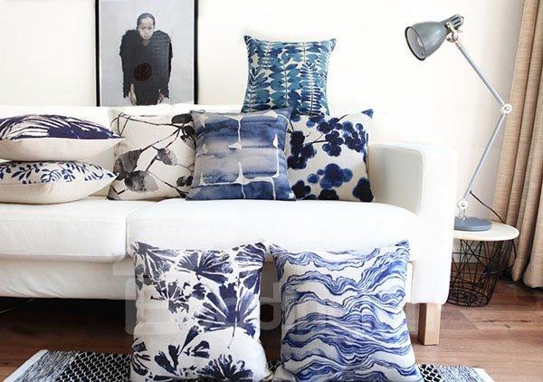 Unique Tie-dyed Indigo Leaves Square Throw Pillow
