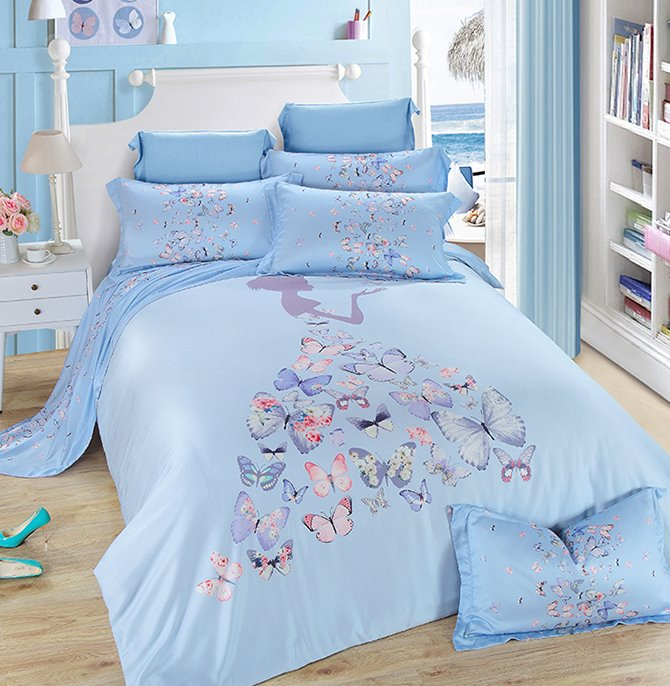 Chic Butterfly Girl Print Pink 4-Piece Tencel Bedding Sets