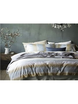 Luxury Gradient Stripe 4-Piece Cotton Bedding Sets