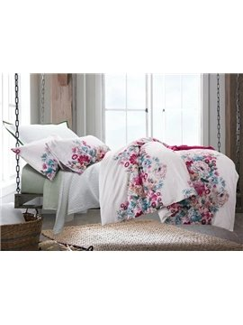 American Pastoral Style Flower Print 4-Piece Duvet Cover Sets