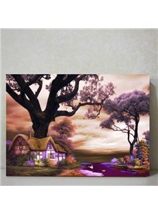 Purple Countryside Scenery Pattern Decorative Framed Wall Art Print
