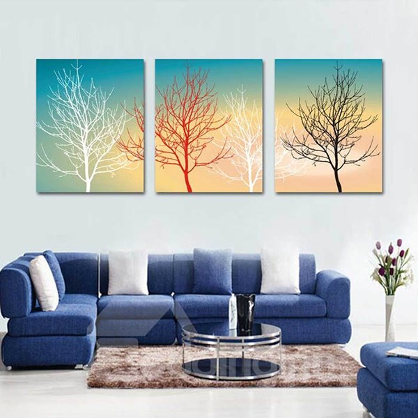 Tree with Various Colors Pattern Canvas Waterproof and Eco-friendly 3 Pieces Framed Prints