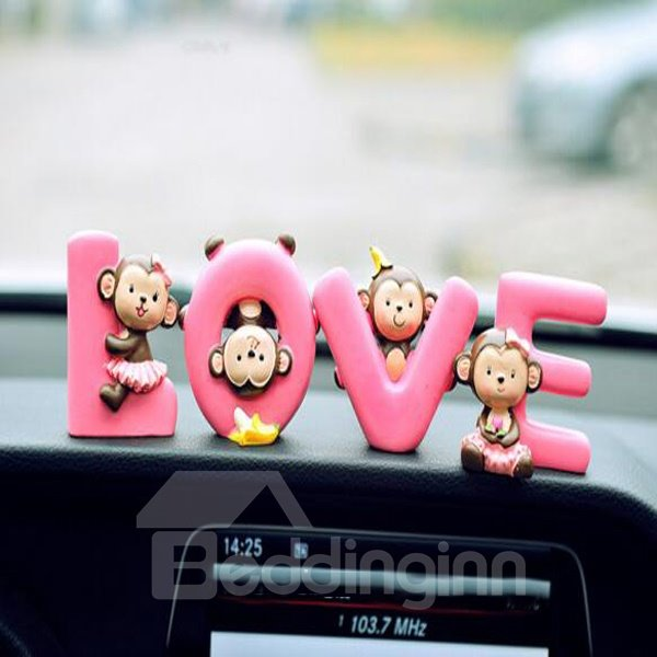 Cute And Interesting Monkey Play In Love Pattern Creative Car Decor