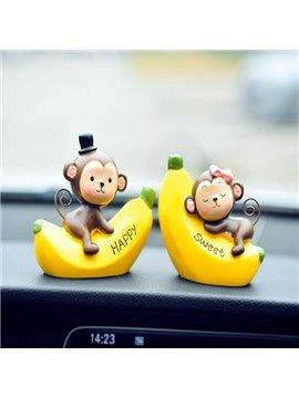 Cute Funny Monkey With Banana Cartoon Creative Car Decor