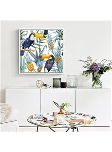 Decorative Selva Style Animal and Flower Pattern Framed Wall Art Print