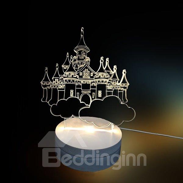 White Three-Dimensional 3D Castle Pattern LED Light
