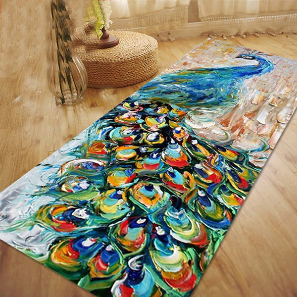 Delicate Dacron Peacock Pattern Oil Painting Area Rug