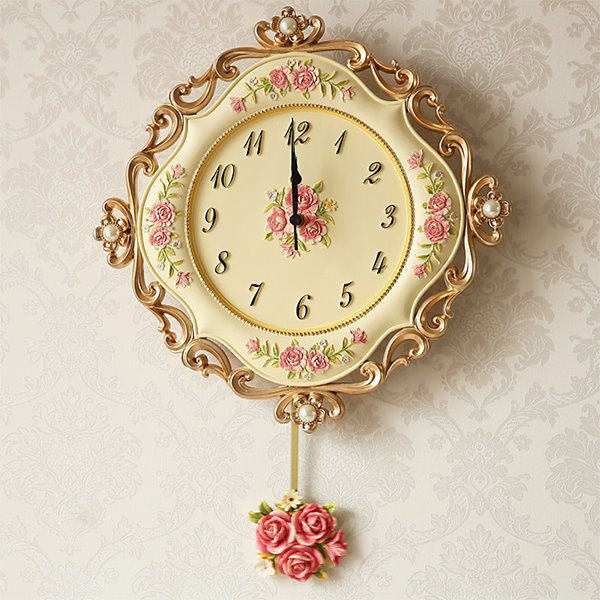 Fashion Creative Resin Flower Pattern Pendulum Wall Clock