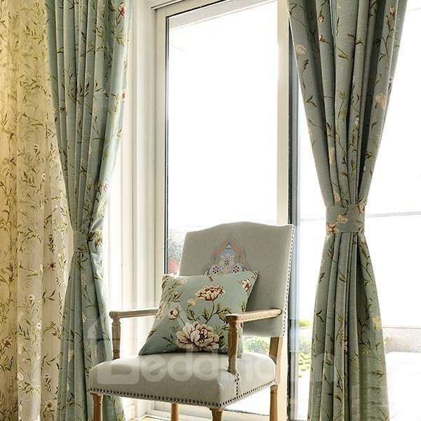 American Country Style Reactiveprint Vine Pattern Grommet Top Curtain