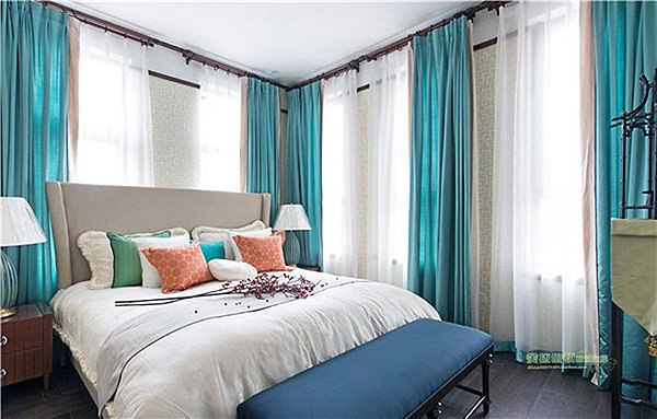 Concise Pure Colored Acid Blue Grommet Top Curtain