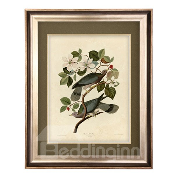 Elegant Flower and Bird Pattern Living Room Wall Art Print