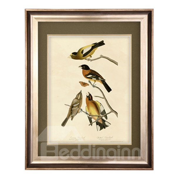 Elegant Flower and Bird Pattern Living Room Framed Wall Art Print