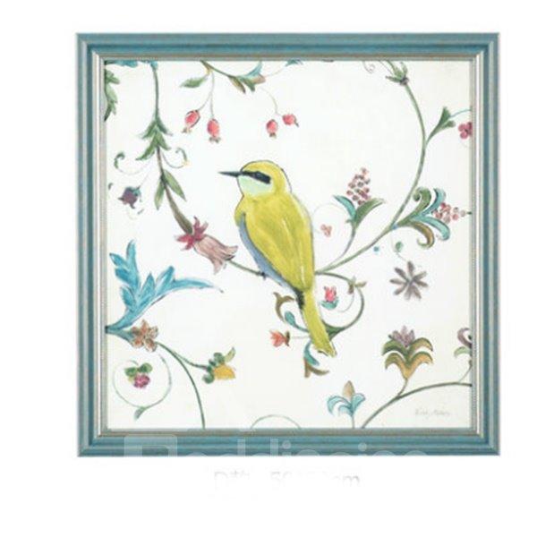 Wonderful Blue Countryside Style Birds Pattern Wall Art Print