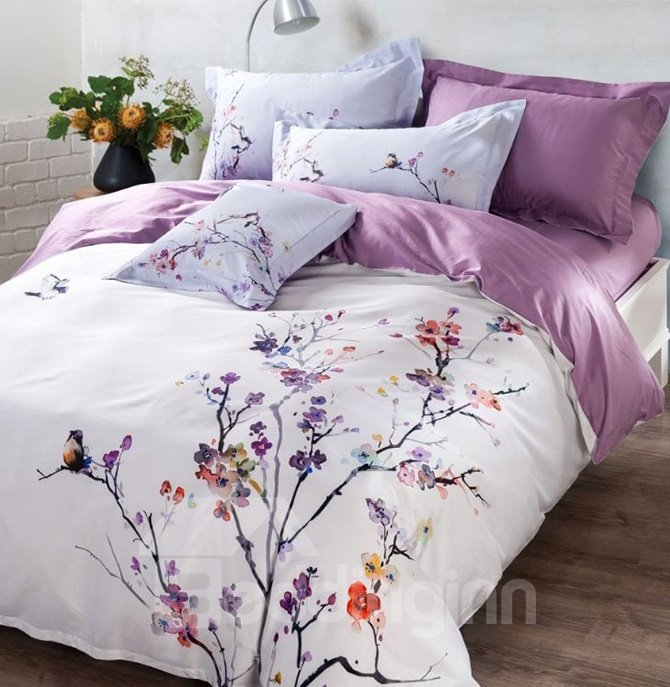 Wonderful Plum Blossom Print 4-Piece Cotton Duvet Cover Sets