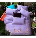 Noble Exquisite Flower Embroidery Purple 4-Piece Cotton Duvet Cover Sets