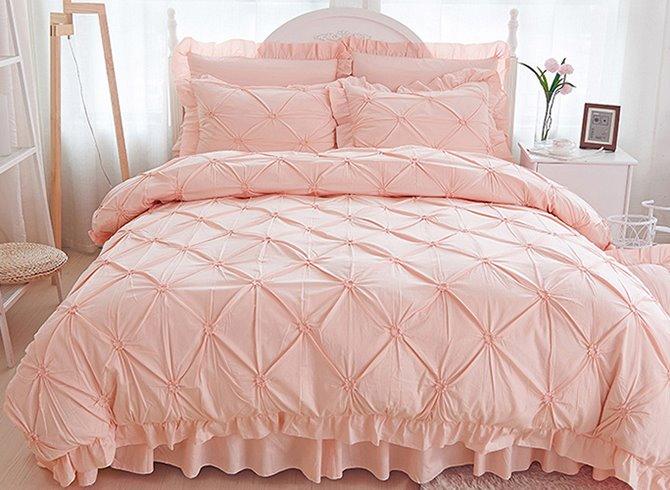 Pinch Pleat Cotton Princess Style 4 Piece Pink Duvet