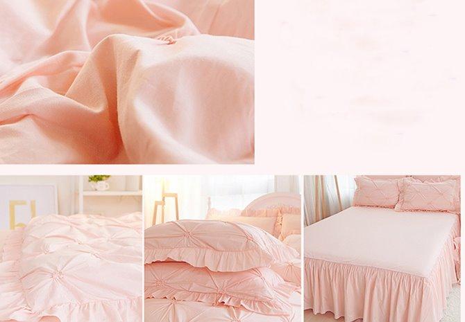 Pinch Pleat Cotton Princess Style 4-Piece Pink Duvet Covers/Bedding Sets
