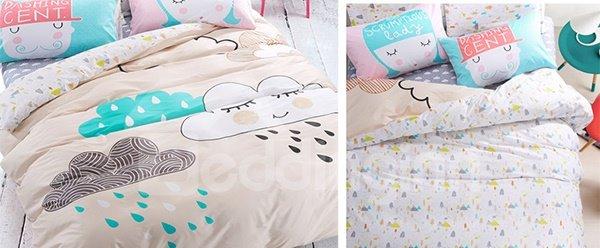 Adorable Smile Clouds Print 4-Piece Cotton Kids Duvet Cover Sets