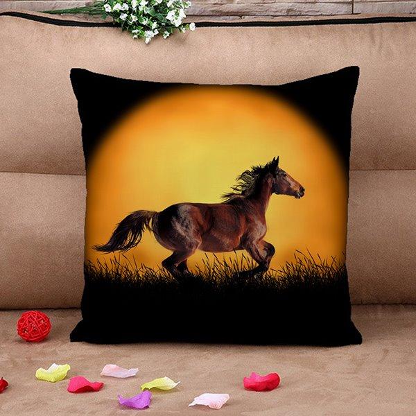Amazing Vivid Running Horses Print Throw Pillow Case