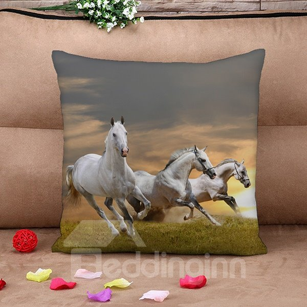 Awesome Lifelike Running Horse Print Throw Pillow Case