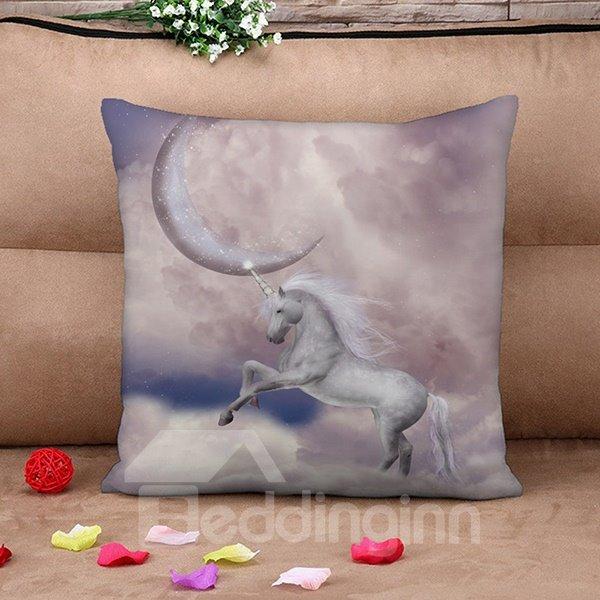 Magic Night Moon Beautiful White Unicorn Print Throw Pillow Case