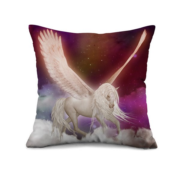 White Horse Spread Wings Print Throw Pillow Case