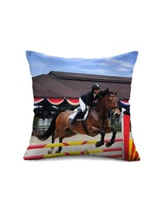 Cool Horse Racing Print Throw Pillow Case