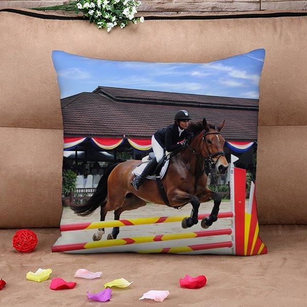 Cool Horse Racing Print Throw Pillow Case