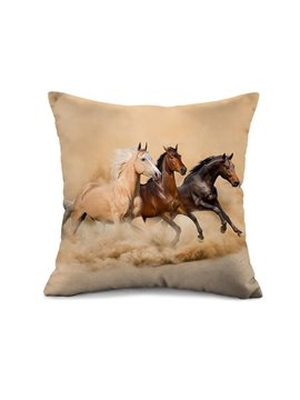 Fancy Three Running Horses Print Throw Pillow Case